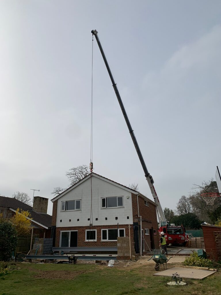 large steel beam for a residential extension in Speldhurst